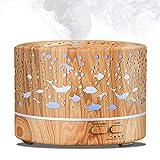 700ML Aroma öl diffuser Aromatherapie luftbefeuchter holz design mit 7 LED Farben Ultraschall air...
