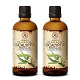 Ätherisches Öl Eukalyptus 200ml - 2x100ml - Eucalyptus Globulus - 100% Naturrein & Reines...