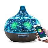 EOADUH WiFi Smart Aroma Öl Diffuser mit Telefon App, 400ML Glas Luftbefeuchter für Ätherische...