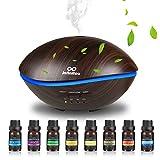 500ml Aroma Diffuser mit 8 * 10ml Ätherische Öle Set, Luftbefeuchter Ultraschall Raumbefeuchter...