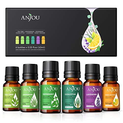 Anjou Ätherische Öle Set [2020 Neueste] Aromatherapie Duftöl Öl 6x 10ml für Aroma diffuser 100%...