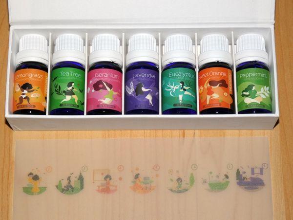 Homasy Seven+ Aromatherapie Duftöl Set enthält Geranie, Pfefferminze, Süße Orange, Eukalyptus, Teebaum, Lavendel und Zitronengras