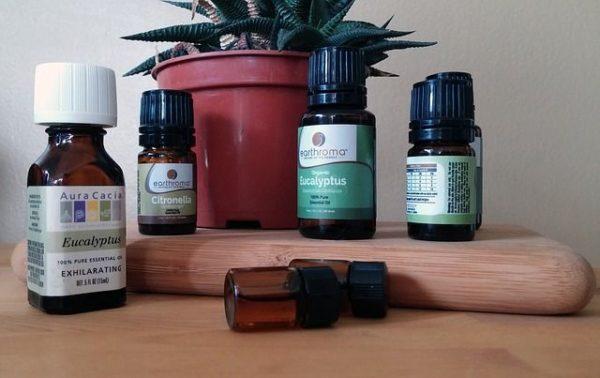 ätherische Öle in verschiedenen Flaschen